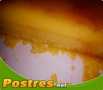 preparación de Postre de Flan de naranja embizcochado