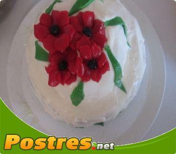 preparación de Postre de Tarta flores del campo