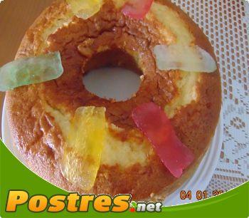 preparación de Postre de Bizcocho con fruta escarchada