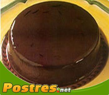 preparación de Postre de Flan de chocolate y  almendras