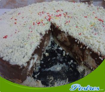 preparación de Postre de Tarta de chocolate con lionesas en thermomix
