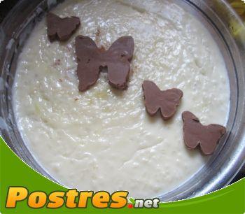 preparación de Postre de Arroz con leche y chocolate blanco