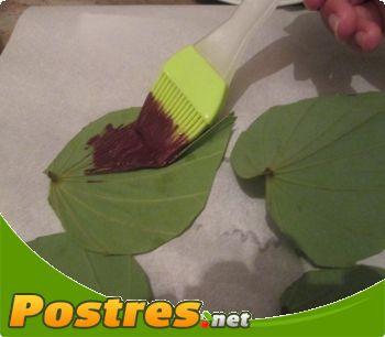 preparación de Postre de Plantilla de hoja casera