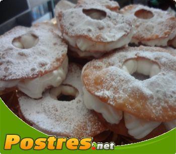 preparación de Postre de Roscos de hojaldre con nata