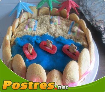 preparación de Postre de Tarta playa con ositos