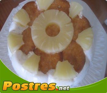 preparación de Postre de Tarta helada de piña