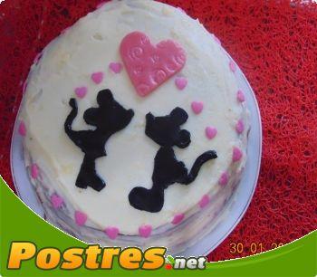 preparación de Postre de Tarta  Mickey y Mini enamorados