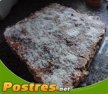 preparación de Postre de Tarta de chocolate y nata