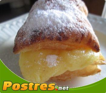 preparación de Postre de Milhojas de crema pastelera