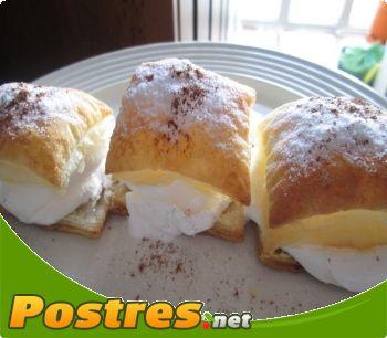 preparación de Postre de Milhojas de nata