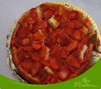 preparación de Postre de Tarta de queso con fresas en thermomix