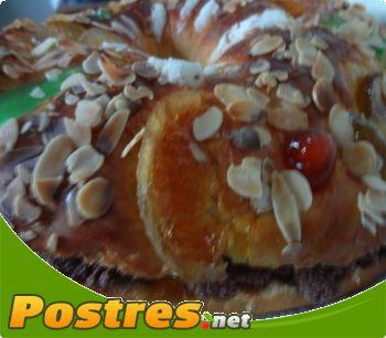 preparación de Postre de Roscón de Reyes