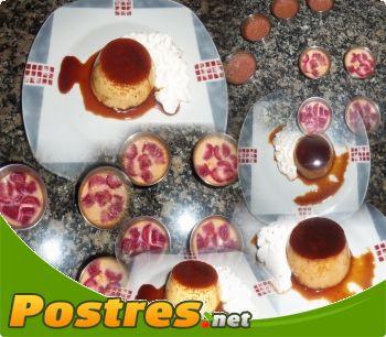 preparación de Postre de Flan de Fresas