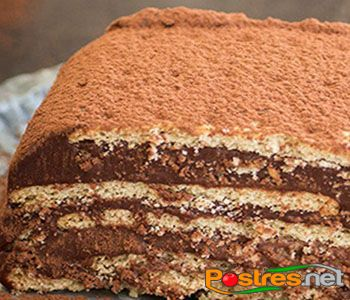 preparación de Postre de Tarta de Chocolate, Leche Condensada y Café