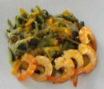 preparación de Verduras al Wok con Langostinos light