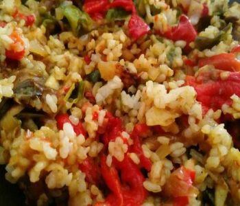 preparación de Arroz con Verduras hechas al horno light
