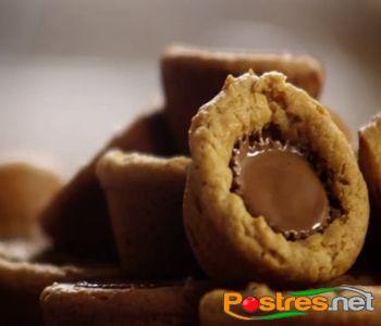 preparación de Postre de Cup Cookies de Mantequilla de Cacahuete