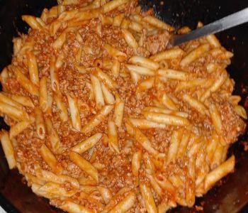 preparación de Receta de Macarrones boloñesa